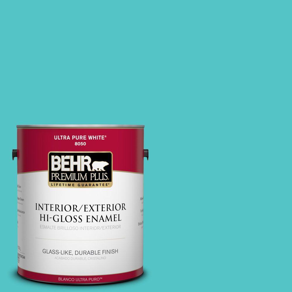 1-gal. #500B-4 Gem Turquoise Hi-Gloss Enamel Interior/Exterior Paint
