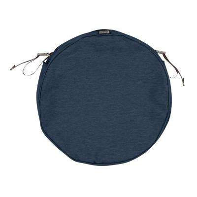 Montlake Fade Safe Heather Indigo 15 in. Round Outdoor Seat Cushion Cover