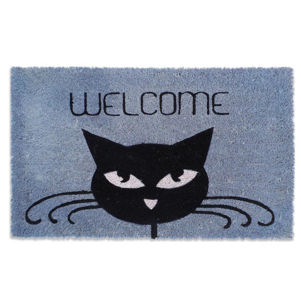 and of stock isolated mat mats photo black cartoon over single with white welcome sleeping cat background