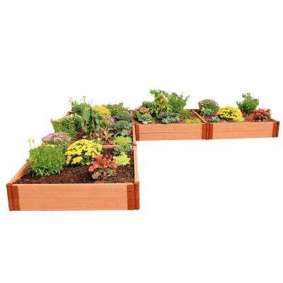 Two Inch Series 12 ft. x 12 ft. x 11 in. L Shaped Classic Sienna CompositeRaised Garden Bed Kit