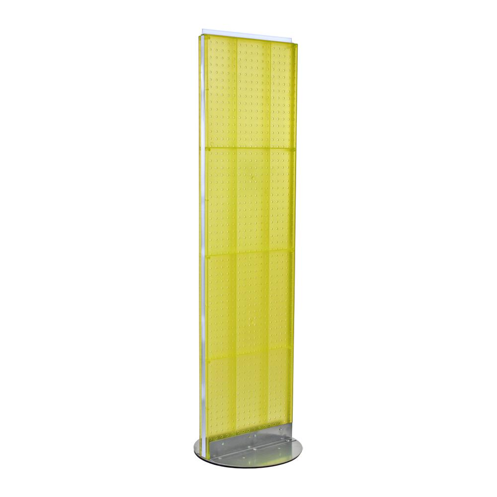 Azar Displays 60 in. H x 16 in. W 2- Sided Styrene Pegboard Floor Display on Revolving Base in Yellow