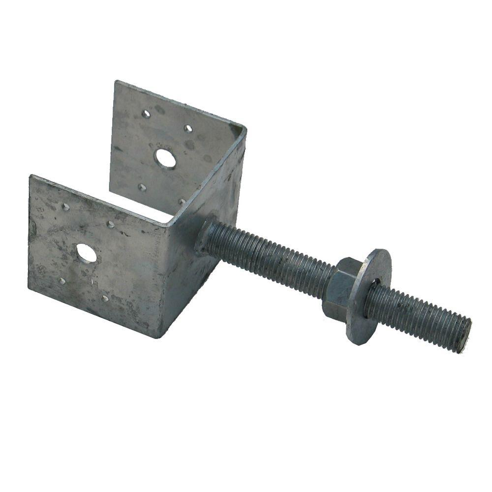 Mutual Materials 4 in. Galvanized Adjustable Pier Support Bracket