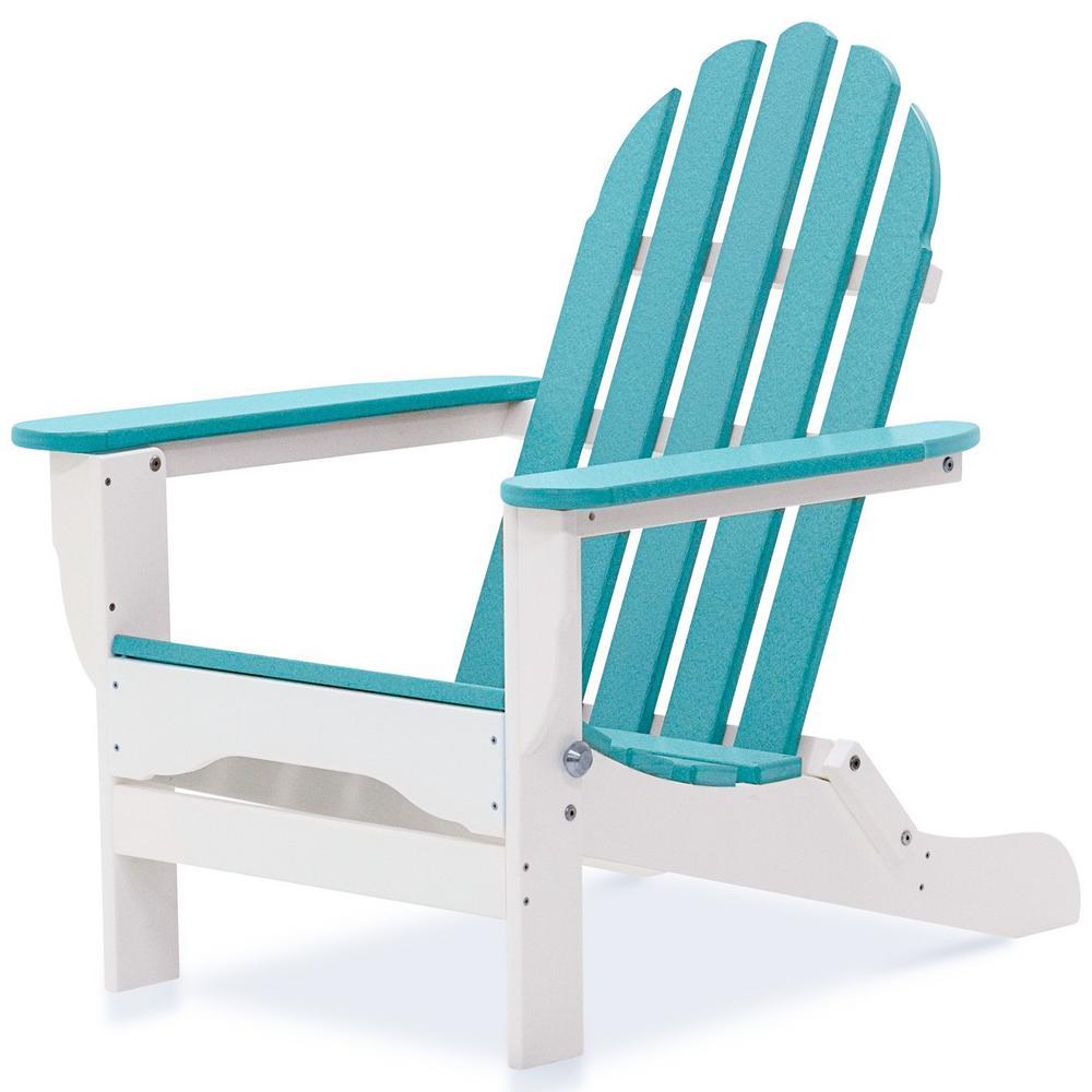 Icon White and Aruba Plastic Folding Adirondack Chair