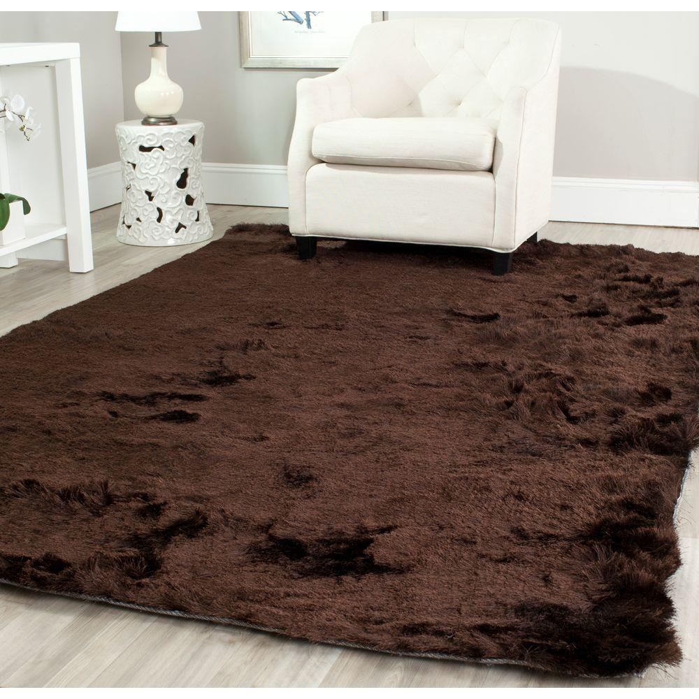 Safavieh paris shag chocolate 8 ft x 10 ft area rug sg511 2727 8 the home depot for Chocolate brown bathroom rugs