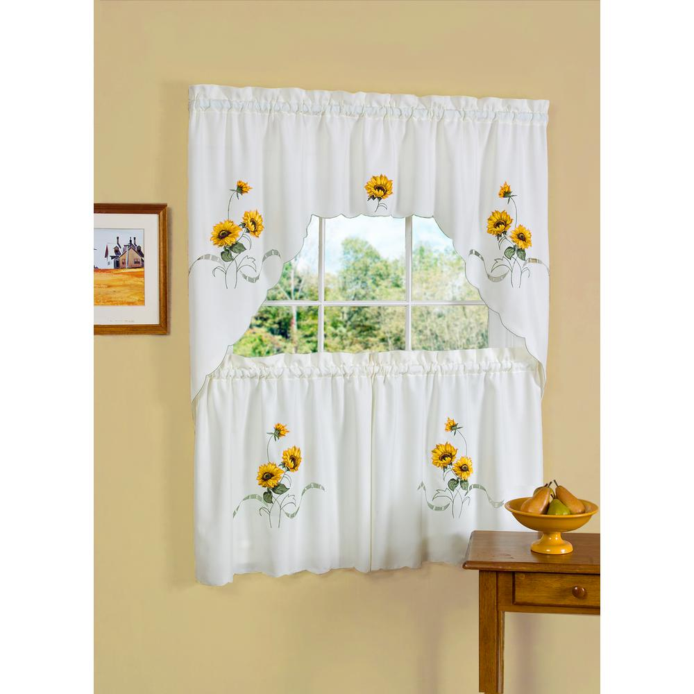 Black And Yellow Kitchen Curtains: Achim Sheer Sunshine 24 In. L Polyester Window Curtain Set