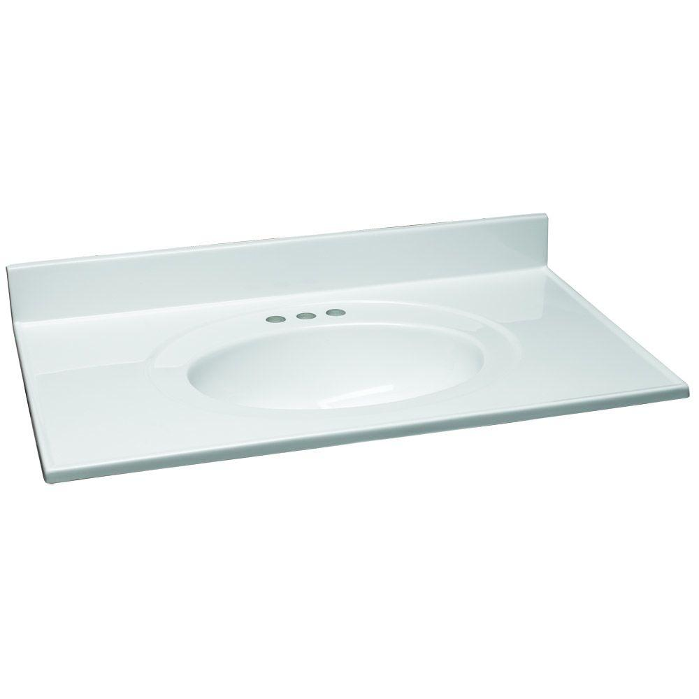 37 in. W Cultured Marble Vanity Top in White with Solid