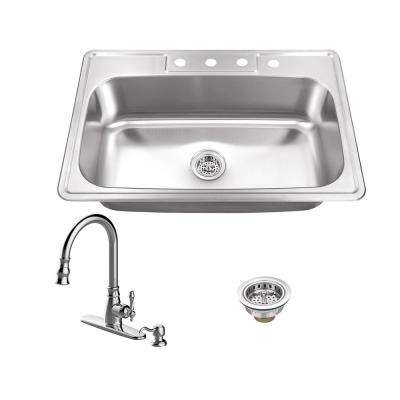 Drop-In Stainless Steel 33 in. 4-Hole Single Bowl Kitchen Sink with Arc Kitchen Faucet