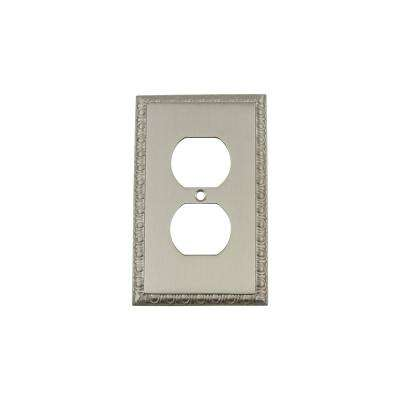 Egg and Dart Switch Plate with Outlet in Satin Nickel