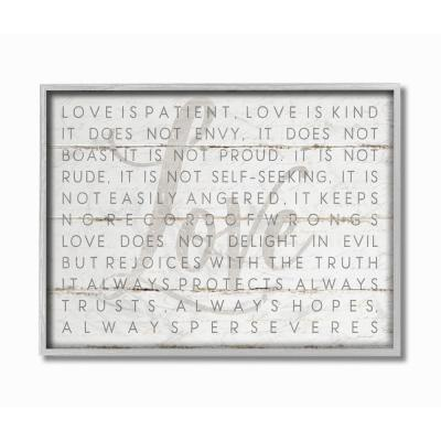 """16 in. x 20 in. """"Love Is Patient Grey on White Planked Look"""" by Jennifer Pugh Framed Wall Art"""