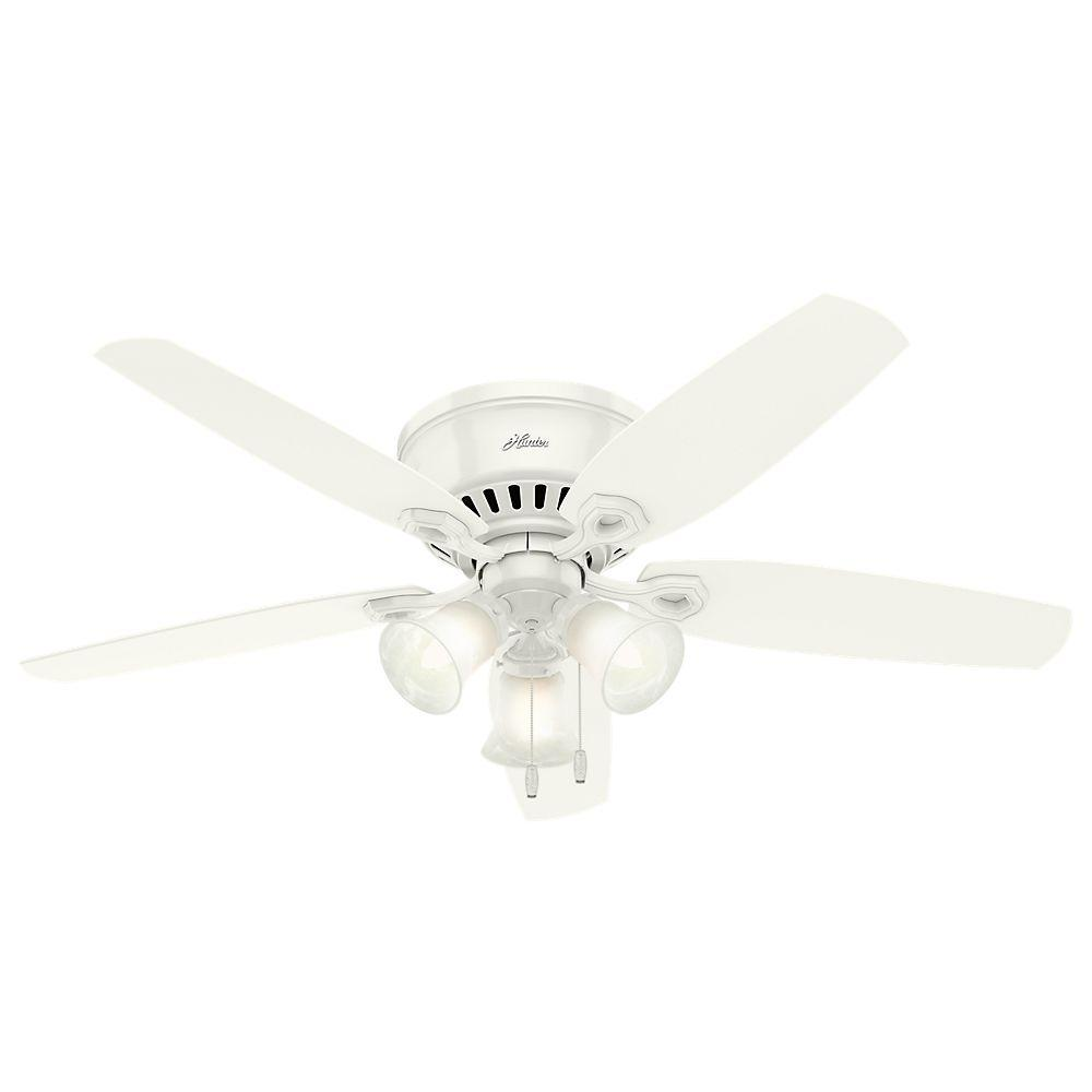 Hunter White Fan Part - 23: Hunter Builder Low Profile 52 In. Indoor Snow White Ceiling Fan
