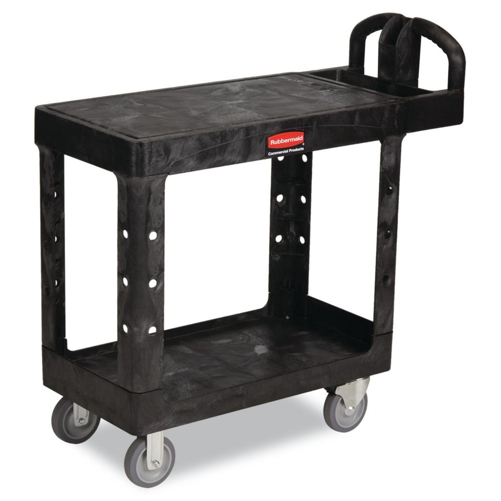 Heavy Duty Black 2-Shelf Utility Cart with Flat Shelf in Small