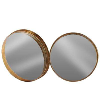 Round Rose Gold Antique Tarnished Wall Mirror (Set of 2)