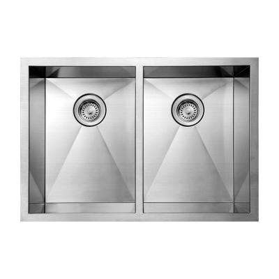 Noah's Collection Undermount Brushed Stainless Steel 29 in. 0-Hole Double Basin Kitchen Sink