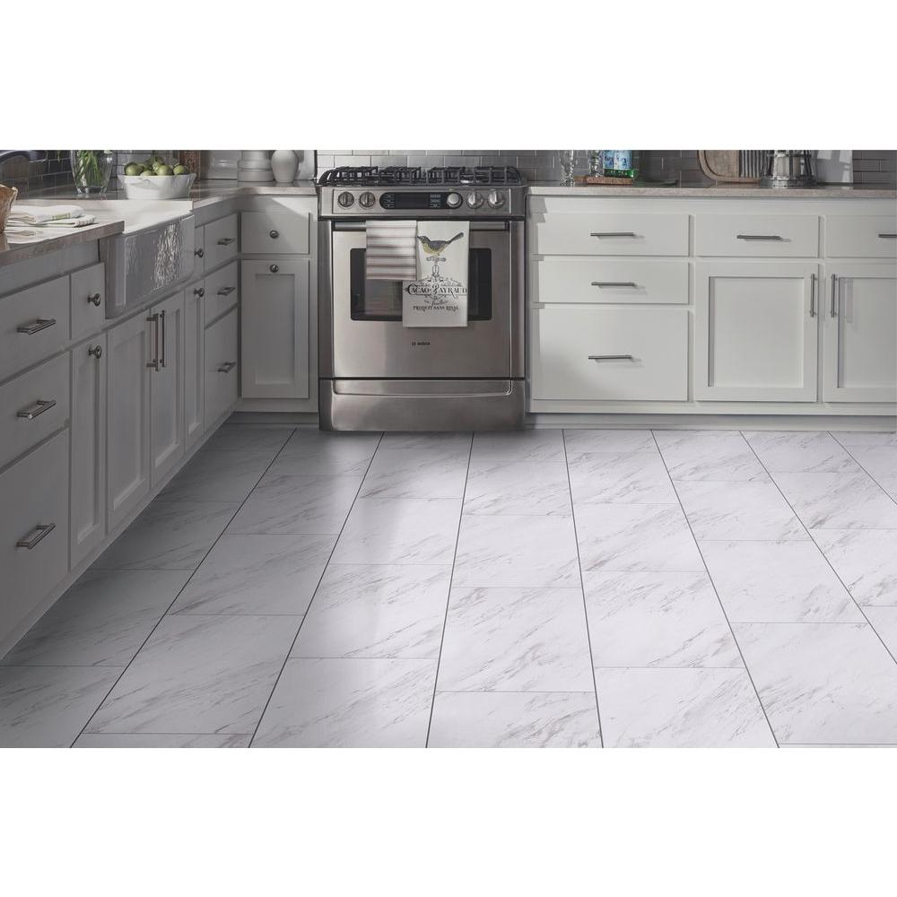 Trafficmaster Carrara Marble 12 In X 24 L And Stick Vinyl Tile 20 Sq Ft Case