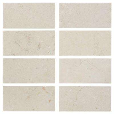 Creama 3 in. x 6 in. Honed Marble Floor/Wall Tile (8-Pack)