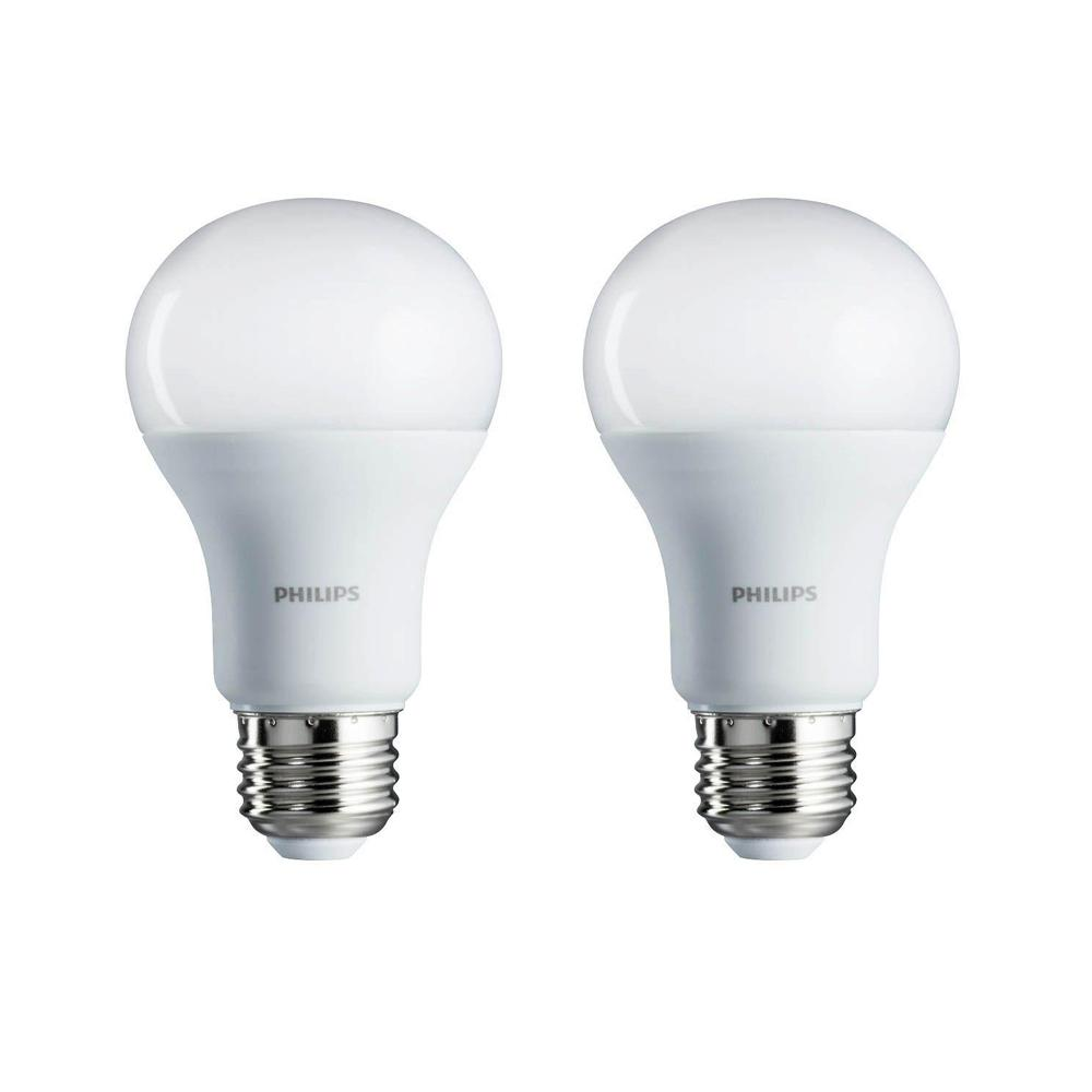 Philips 100 Watt Equivalent A19 Non Dimmable Energy Saving Led Light Bulb Daylight 5000k 2 Pack