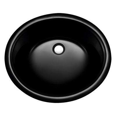 Undermount Glass Bathroom Sink in Black