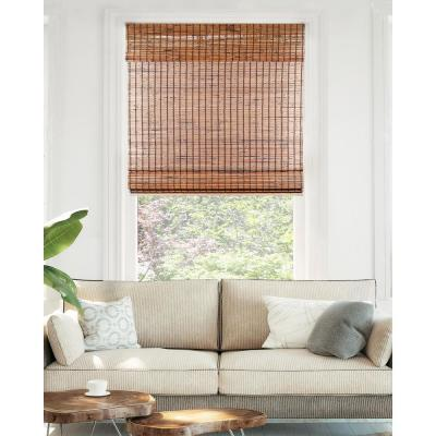 Premium True-to-Size Brown Beaver Cordless Light Filtering Natural Woven Bamboo Roman Shade 31 in. W x 64 in. L