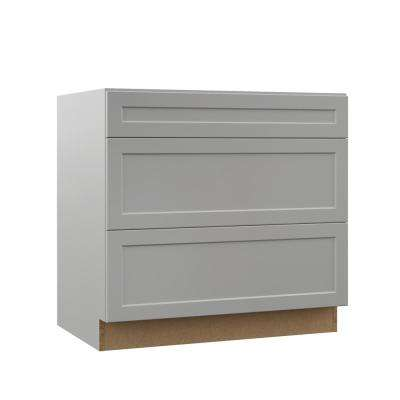 Melvern Assembled 36x34.5x23.75 in. Pots and Pans Drawer Base Kitchen Cabinet in Heron Gray