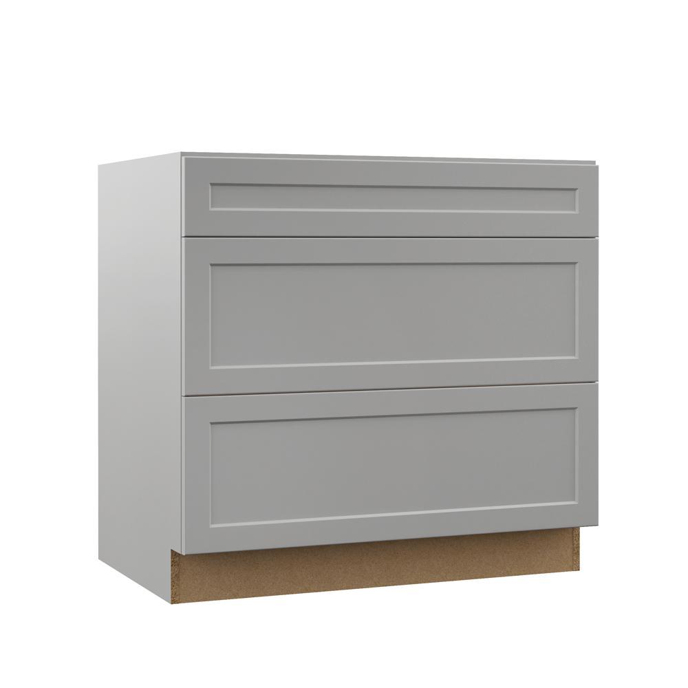 Hampton Bay Designer Series Melvern Assembled 36x34 5x23 75 In Pots And Pans Drawer Base Kitchen Cabinet In Heron Gray