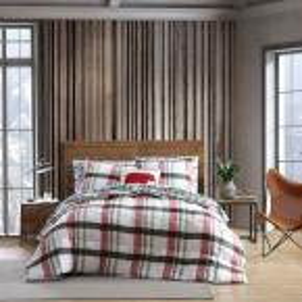 Stanton Plaid 2-Piece Red Down Alternative Micro Suede Twin Comforter Set
