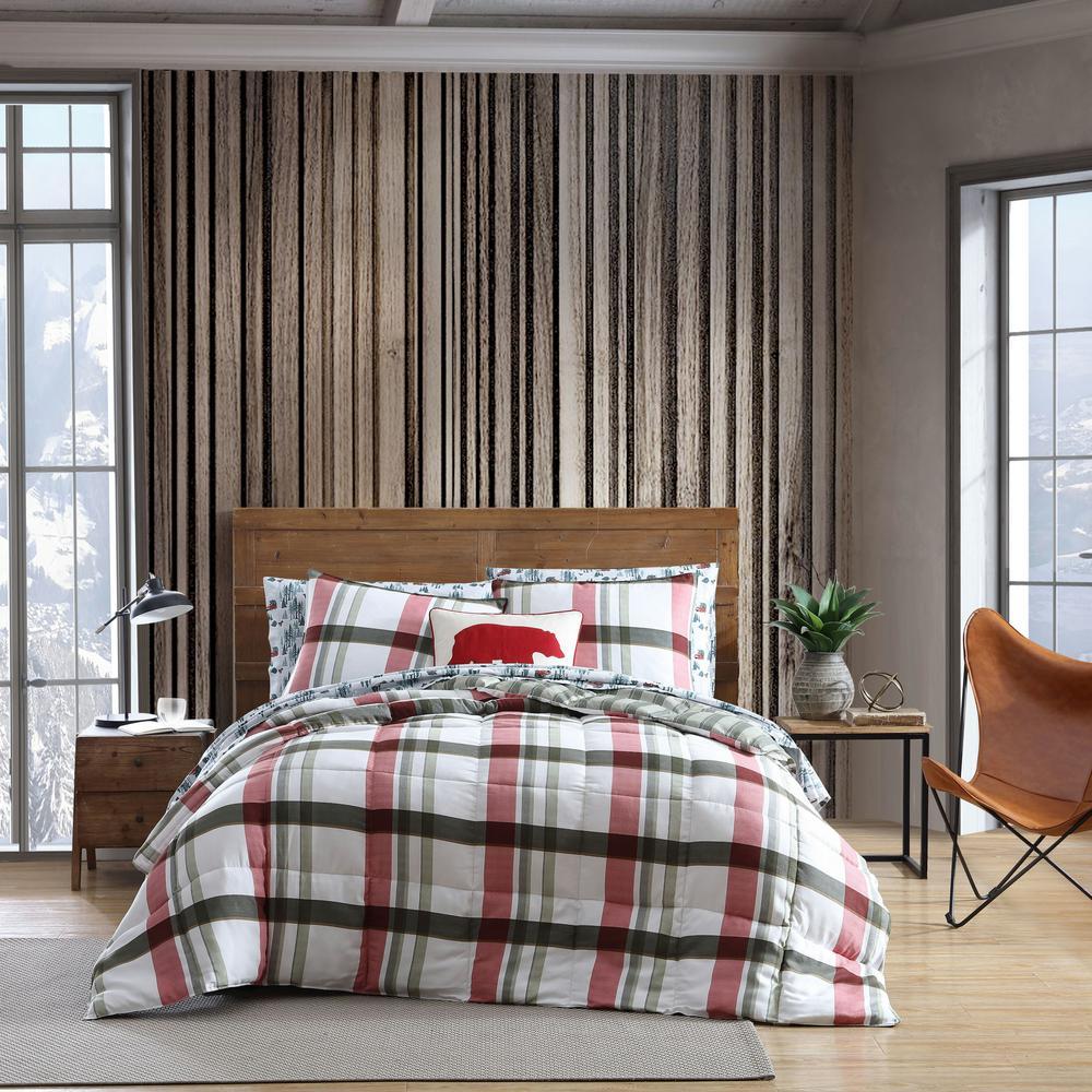 Stanton Plaid 3-Piece Red Down Alternative Micro Suede King Comforter Set