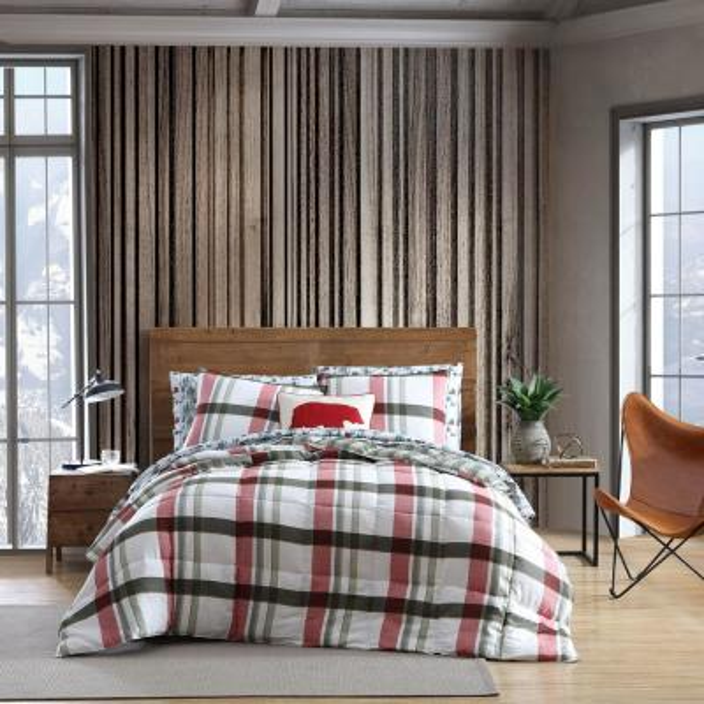 Stanton Plaid Down Alternative Red 3-Piece Microsuede King Comforter/Sham Set