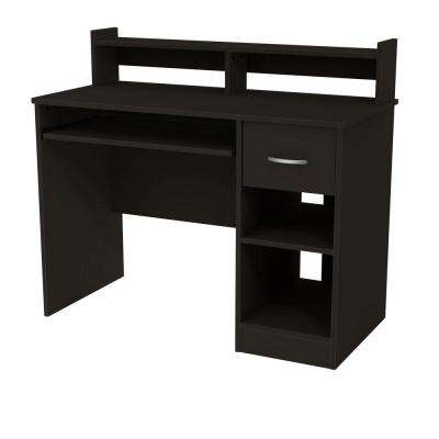 41 in. Black Rectangular 1 -Drawer Computer Desk with Hutch