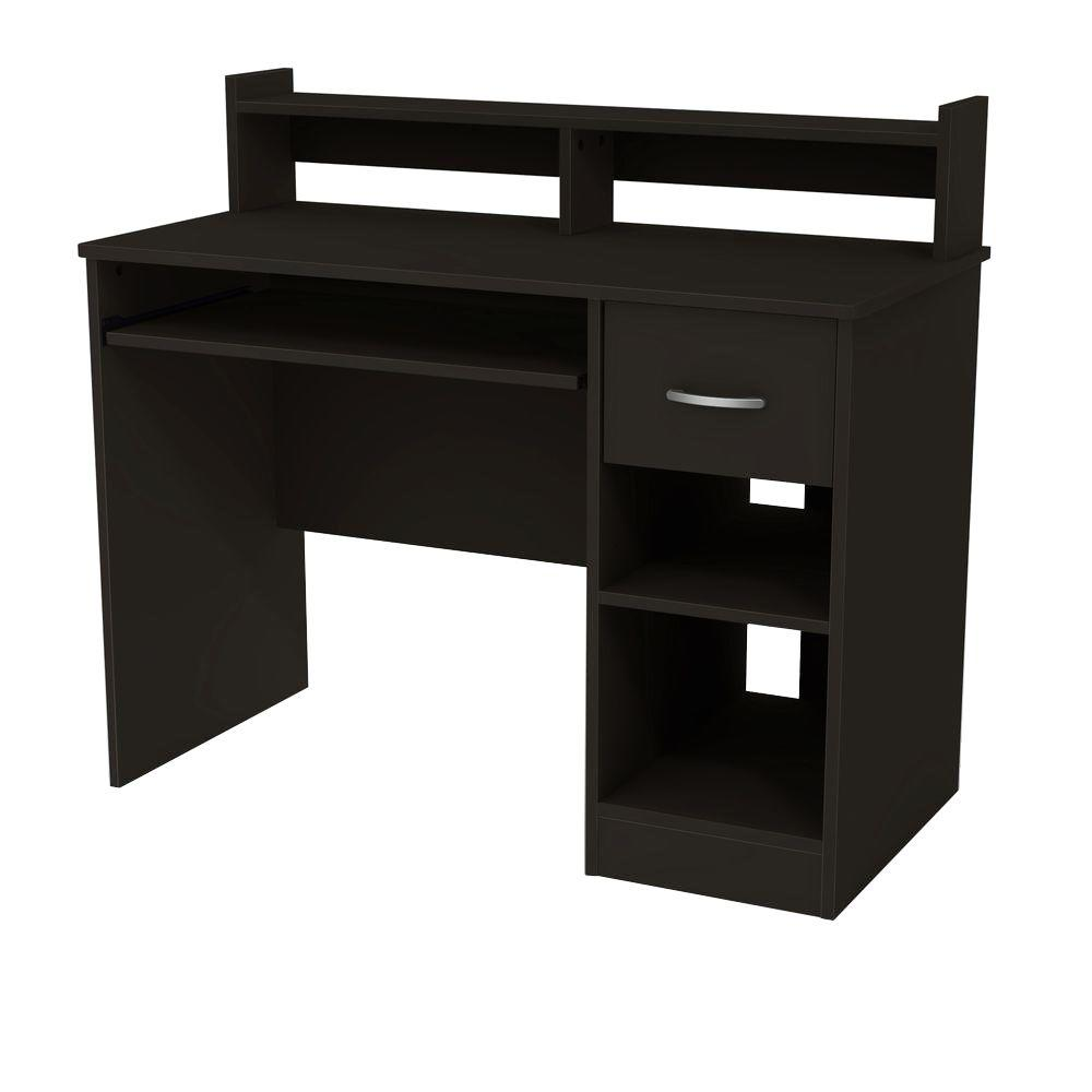South Shore Axess Solid Black Desk with Hutch