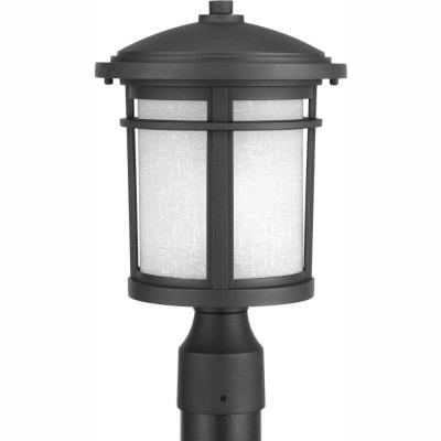 Wish Collection 1-Light Black LED Outdoor Post Lantern