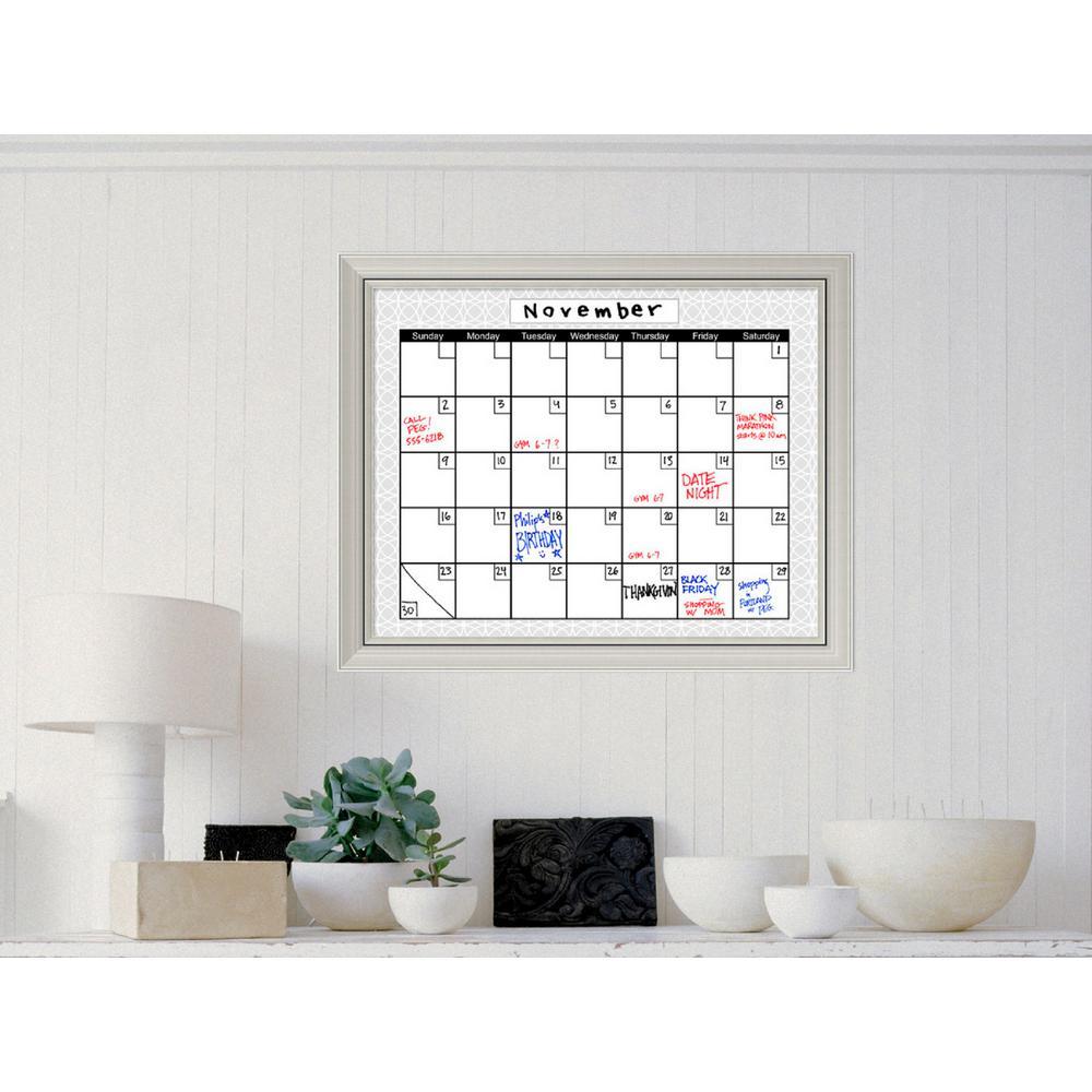 Medallion Grey Calendar 32 in. W x 26 in. H Framed Glass Dry Erase Board