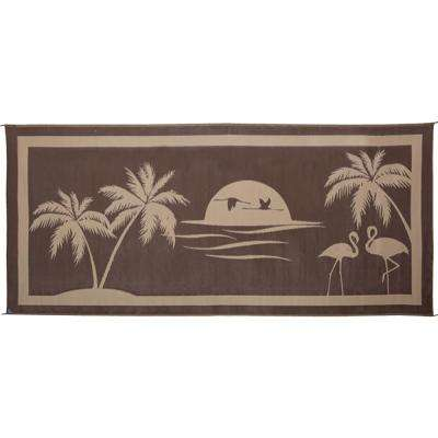 8 ft. x 18 ft. Brown/Beige Tropical Oasis Reversible Mat