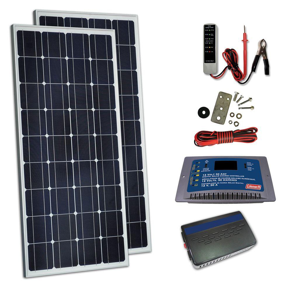 Coleman 260-Watt Solar Kit with Controller and Inverter-DISCONTINUED