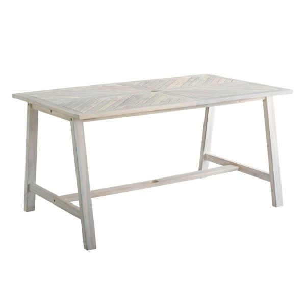 60 in. White Wash Acacia Wood Outdoor Patio Chevron Dining Table