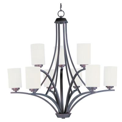 Deven 9-Light Oil Rubbed Bronze Chandelier with Satin White Shade