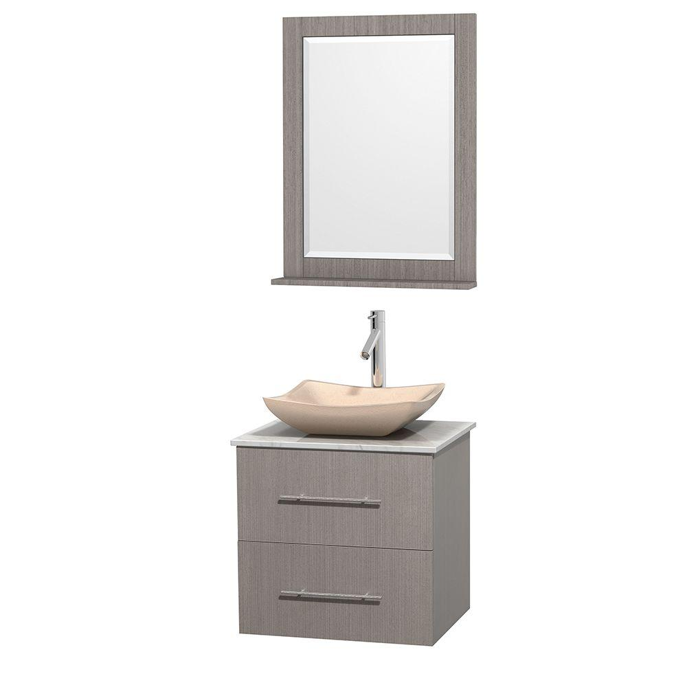 Wyndham Collection Centra 24 in. Vanity in Gray Oak with Marble Vanity Top in Carrara White, Ivory Marble Sink and 24 in. Mirror