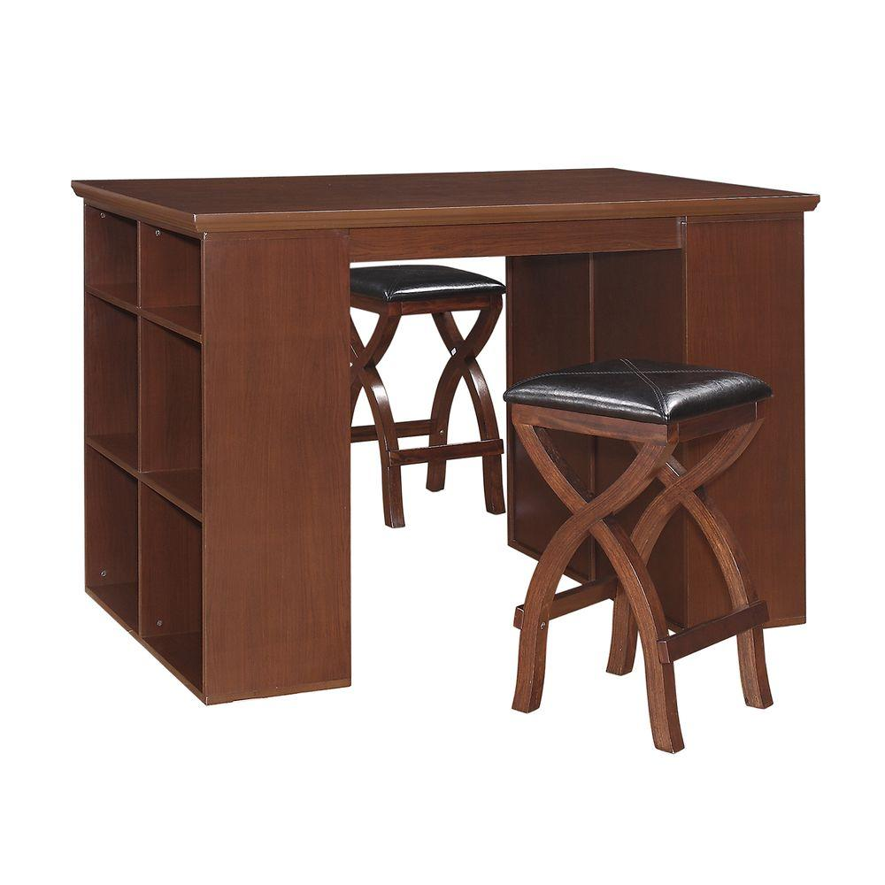 null HomeSullivan Tarantino 3-Piece Counter Height Desk with Stool Set