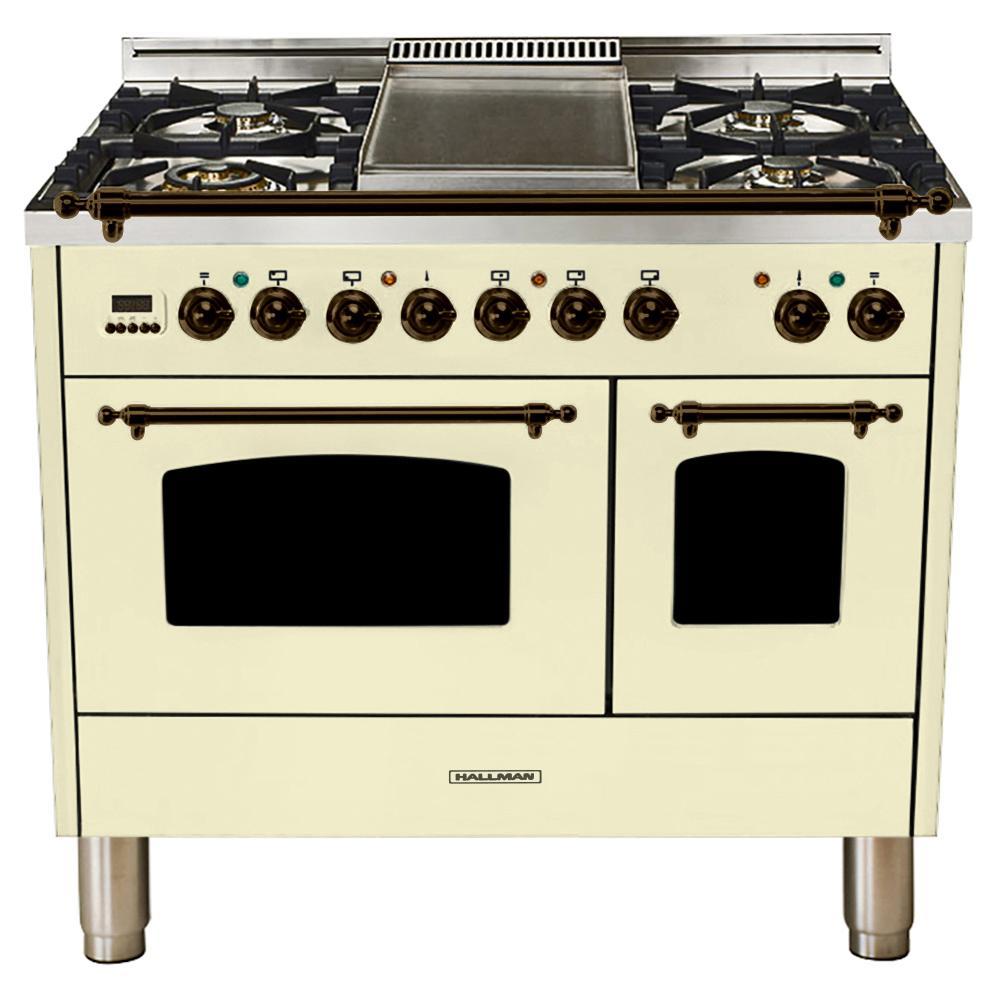 Hallman 40 in. 4.0 cu. ft. Double Oven Dual Fuel Italian Range True Convection, 5 Burners, Griddle, Bronze Trim in Antique White