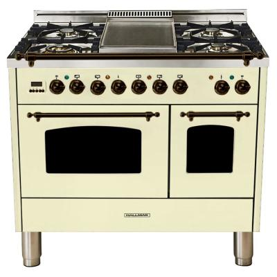 40 in. 4.0 cu. ft. Double Oven Dual Fuel Italian Range True Convection, 5 Burners, Griddle, Bronze Trim in Antique White