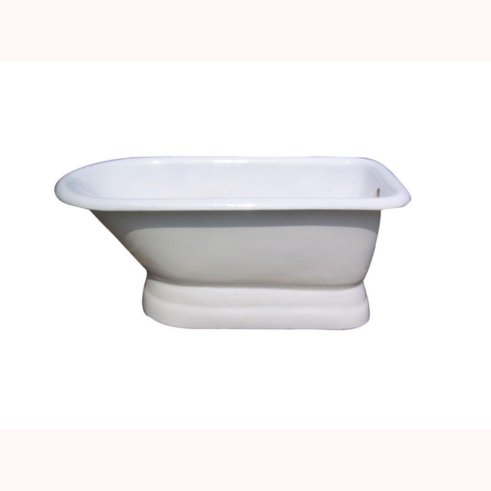 Barclay Products 5 ft. Cast Iron Roll Top Tub with 3-3/8 in. Holes in Tub Wall on Base, Back Drain in White