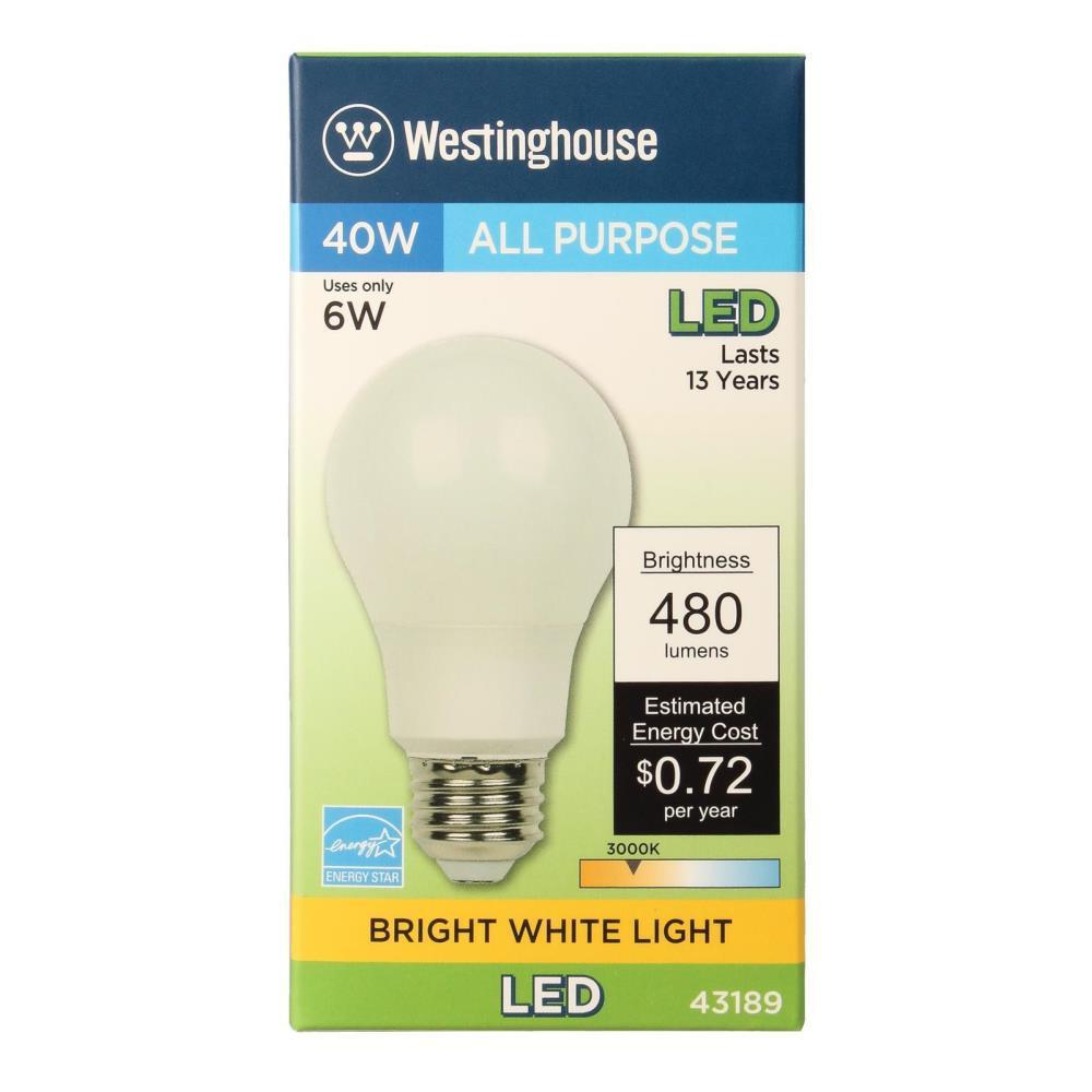 Westinghouse Lighting 4318900 40-Watt Equivalent Omni A19 Bright White LED Energy Star Light Bulb with Medium Base