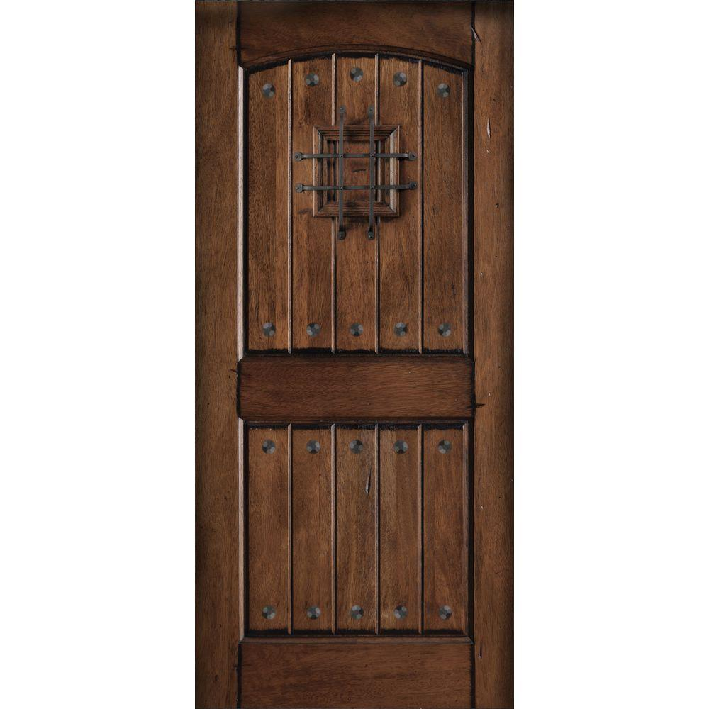 Main Door 36 in. x 80 in. Rustic Mahogany Type Prefinished Distressed V-Groove Solid Speakeasy Stained Wood Front Door Slab