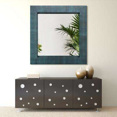 48 in. x 48 in. Black on Blue Metallic Shagreen Leather Framed Beveled Mirror