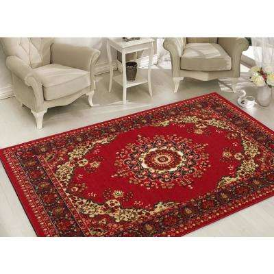 Clifton Collection Traditional Medallion Design Red 8 ft. x 10 ft. Felt Back Area Rug
