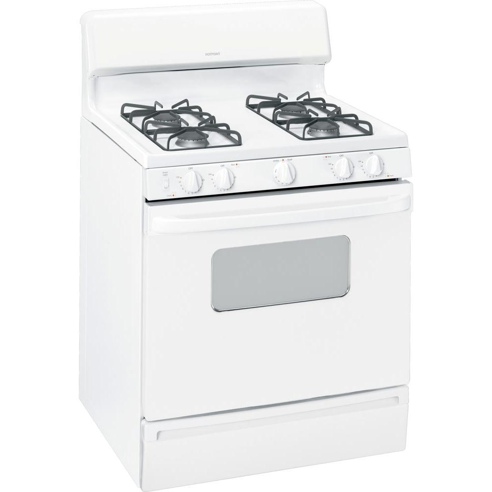 Hotpoint 4.8 cu. ft. Gas Range in White on White