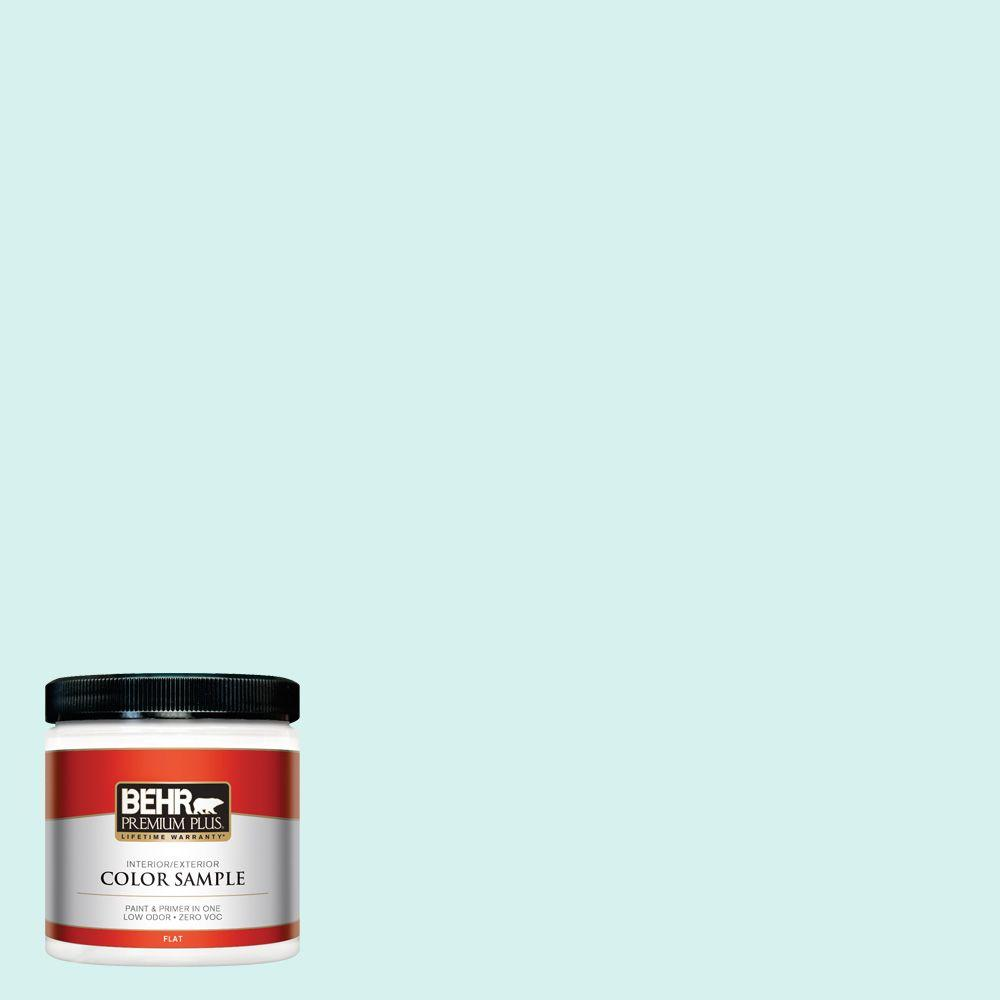8 oz. #P450-1 Sea Ice Flat Interior/Exterior Paint and Primer in