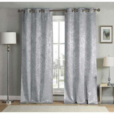 Maddie 38 in. x 96 in. L Polyester Blackout Curtain Panel in Silver (2-Pack)