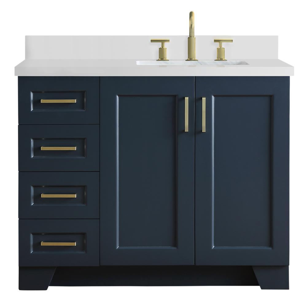Ariel 43 in. W x 22 in. D Bath Vanity in Midnight Blue with Quartz Vanity Top in White with Right Offset White Rectangle Basin