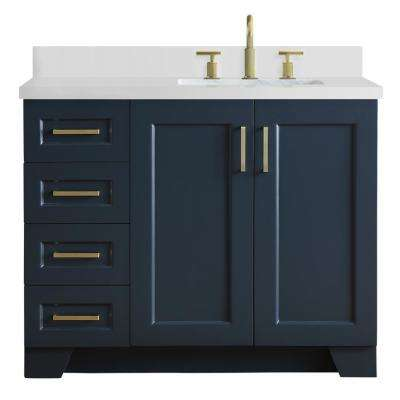 43 in. W x 22 in. D Bath Vanity in Midnight Blue with Quartz Vanity Top in White with Right Offset White Rectangle Basin
