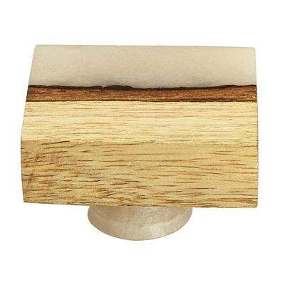 Frosted Straight Timber 1-7/11 in. White Resin Straight Cabinet Knob